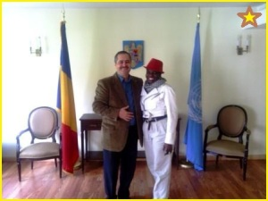 Ottoo Brand Artivism President Emilia A. Ottoo and Administrative Officer Ion Mustatea of the Permanent Mission of Romania to the United Nations