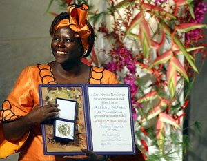 Wangari Maathai with her Nobel Medal and Diploma at the Nobel Peace Prize Award Ceremony, Oslo City Hall, Norway. The Kenyan ecologist is the first African woman awarded the Nobel Peace Prize.
