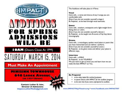 IRT March 2014 auditions