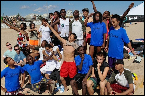 Hannah with STOKED mentors and mentees during Rockaway Beach party in NYC.