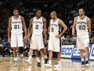 [Kawhi as a starting player alongside Tim Duncan, Tony Parker and Manu Ginobli of the NBA Spurs]
