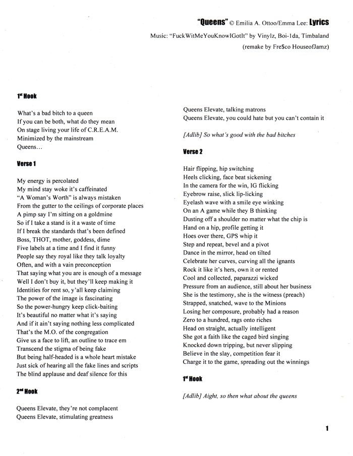 Queens lyrics 1